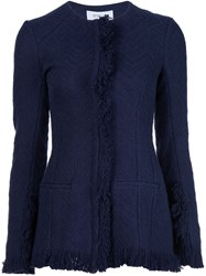 Derek Lam 10 Crosby Frayed Collarless Jacket Blue