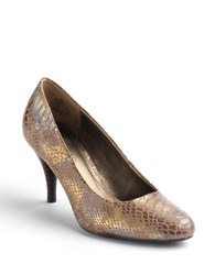 Bandolino Courteous Fabric Covered Patent Pumps Olive Snake