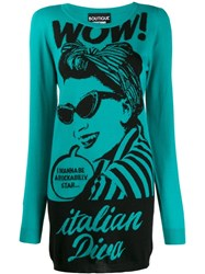 Boutique Moschino 'Italian Diva' Knitted Dress Blue