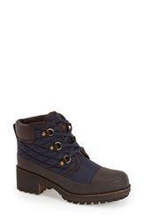 Women's Lucky Brand 'Akonn' Weather Resistant Lace Up Rain Boot Moroccan Blue Fabric