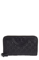 Tory Burch Women's 'Fleming' Quilted Lambskin Leather Continental Wallet Black