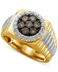 Macy's Men's Diamond Cluster Two Tone Ring 1 Ct. T.W. In 10K Yellow And White Gold Brown