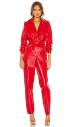 Torn By Ronny Kobo Alie Faux Leather Jumpsuit In Red.