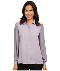 Vince Camuto Long Sleeve Pleated Sleeve Button Front Blouse Purple Haze Women's Blouse