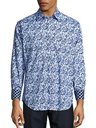 Tailorbyrd Regular Fit The Rhine Abstract Print Cotton Sportshirt Navy