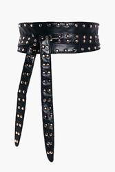 Boohoo Vanessa Stud Edge Leather Look Obi Belt Black