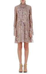 Lanvin Women's High Neck Metallic Lace Shirtdress Pink