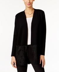 Alfani Petite Eyelash Hem Open Front Cardigan Only At Macy's Deep Black