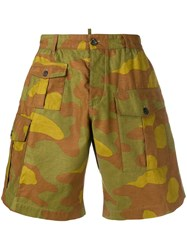 Dsquared2 Camouflage Print Cargo Shorts Brown