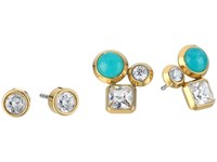 Michael Kors Tone Crystal And Blue Mountain Jade Cluster Stud Earrings Set Gold Earring