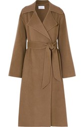 The Row Efo Belted Cashmere And Wool Blend Coat Beige