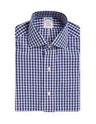 Brooks Brothers Non Iron Gingham Cotton Dress Shirt Blue