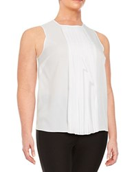 Michael Michael Kors Plus Pleated Front Sleeveless Top White