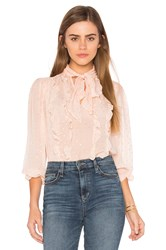 Rebecca Taylor Long Sleeve Metallic Dot Blouse Pink