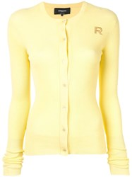 Rochas Ribbed Knit Cardigan Yellow