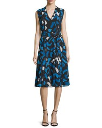 Grey Jason Wu Brushstroke Print Pleated A Line Dress Blue White Multi Blue White Multi
