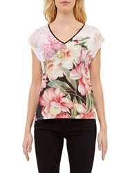 Ted Baker Ilenia Painted Posie V Neck T Shirt Baby Pink