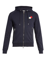 Moncler Zip Up Cotton Jersey Hooded Sweatshirt Navy