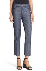 Tory Burch Women's 'Cayden' Piped Fray Hem Crop Jeans