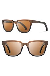 Men's Shwood 'Prescott' 52Mm Titanium And Wood Sunglasses Antique Bronze Dark Walnut