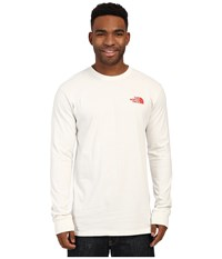 The North Face Long Sleeve Red Box Tee Vaporous Grey Fiery Red Men's Long Sleeve Pullover Orange