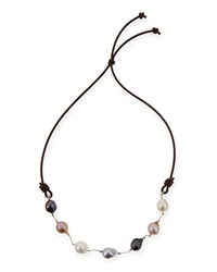 Multicolor Baroque Pearl And Leather Necklace 29'L Margo Morrison White