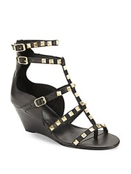 Ash Leather Studded Wedge Shoes Black