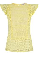 Oasis Patched Lace Shell Top Yellow