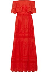 Alice Olivia Pansy Off The Shoulder Embroidered Cotton Maxi Dress Us0
