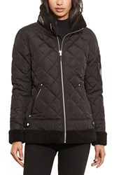 Lauren Ralph Lauren Women's 'Berber' Bomber Jacket With Faux Fur Trim Black