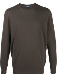 Drumohr Crew Neck Jumper Brown