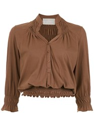 Lilly Sarti Ruched Lastex Blouse Brown