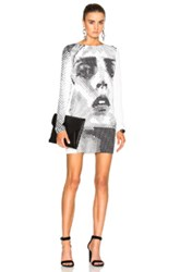Anthony Vaccarello Anja Print Sweatshirt Dress In White Abstract