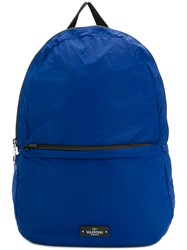 Valentino Logo Patch Backpack Blue