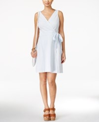 Tommy Hilfiger Seersucker Wrap Dress Blue White