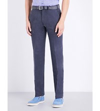 Armani Collezioni Slim Fit Straight Woven Trousers Navy