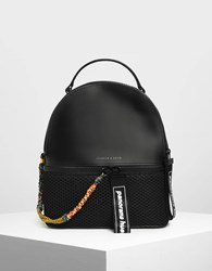 Charles And Keith Mesh Detail Backpack Black