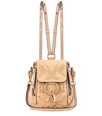 Chloe Faye Mini Studded Suede Backpack Beige