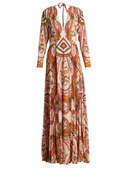 Etro Bengal Floral Print Pleated Crepe Gown Cream Print