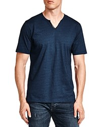 The Kooples Notched Faux Leather Trim Tee Blue