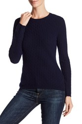 In Cashmere Cable Knit Pullover Sweater Blue