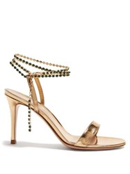 Gianvito Rossi Gems 85 Crystal Embellished Leather Sandals Gold