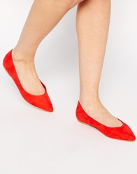 Asos Life Story Pointed Ballet Flats Red