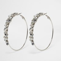 River Island Silver Tone Rhinestone Encrusted Hoop Earrings