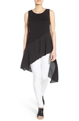 Women's Halogen Asymmetrical Sheer Hem Tank Black