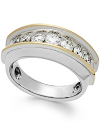Macy's Men's Two Tone Diamond Band In 10K Gold 1 1 2 Ct. T.W.