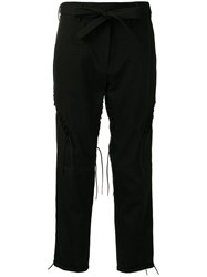 Saint Laurent Belted Cropped Trousers Black