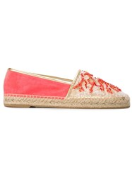 Rene Caovilla Embellished Lace Espadrilles Pink And Purple