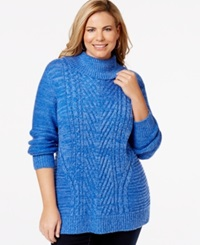 Karen Scott Plus Size Cable Knit Turtleneck Sweater Only At Macy's Deep Pacific Marble
