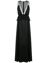 Olympiah Mesh Panels Gown Polyester Black